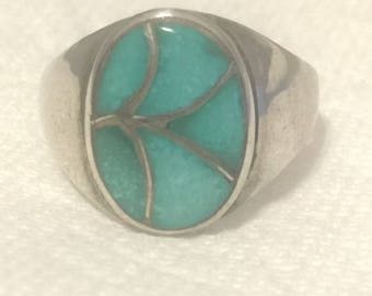 Vintage Sterling Silver Native American Ring Southwest Turquoise Ring Men Size 11 Tribal  Signed ELB Handmade Ring
