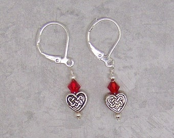 Valentine, Heart, Earrings, Valentine's Day, Heart Earrings, Red, Swarovski Bicone, Antique Silver, Valentine Jewelry, Jewelry, Love, Gift