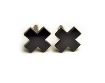 Minimal Black Cross cufflinks matte/glossy gift for him groomsman