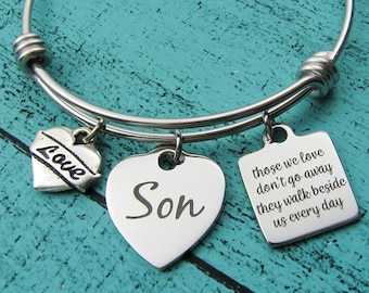 Son memorial gift bracelet, grief gift bereavement, sympathy gift loss of Son, remembrance in loving memory of Son, those we love don't go