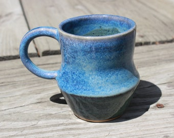 Blue wheel-thrown mug