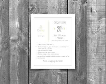 Gift Certificate / Gift Certificate / Gift Card - Printed / paper version - Valid only at the ÉKOLUBI store