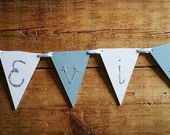 Personalised bunting, sparkly letters, pink and grey bunting, pastel bunting, girls room decoration, glitter bunting.