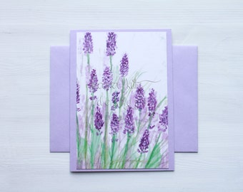 Lavender Blank A6 Greeting Card with Envelope / 4x6 print of original floral art / All Occasion Card / Blank Greeting Card / Thank You Card