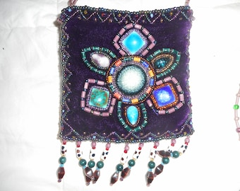 beaded purse, purple velvet