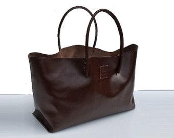 Big Ledertaschetasche Shopping bag leather shopper bag used look handmade