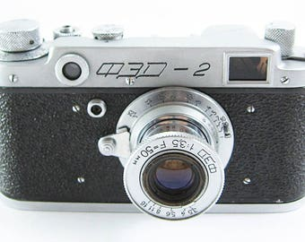 FED 2 Russian Soviet 35mm Film Leica Copy Rangefinder Camera FED Collapsible Lens