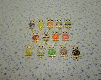 10 pcs of assorted color metal owl pendant charm , 35*16mm , MP690