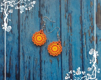 Paper Quilled Orange/Red/Yellow Earrings, paper quilling earrings, quilled earrings, paper jewelry, Orange/Red/Yellow Earrings, handmade