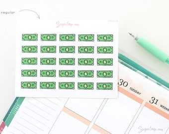 Payday Planner Stickers, 25 Dollar Bill Stickers, Money, Dollar Bill, Dollar Note, Income, Work, Budgeting, Finances, Pay Bills, PAY1