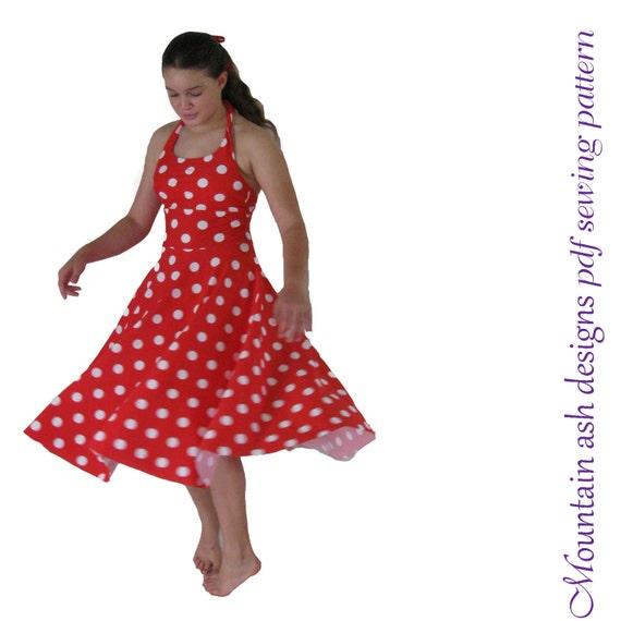 Maria dress pattern pdf sewing pattern halter neck girls sizes