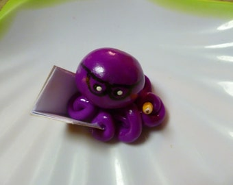 Author Writer Octopus Mini Marble Friend with Glasses Shown In Violet Purple with Book and Pencil