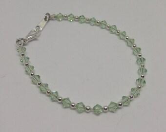 Chrysolite (Pastel Green) Swarovski Crystal Bracelet