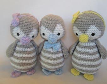 penguin plush toy photo prop crocheted boy girl