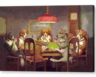 Dogs Playing Poker by C.M.Coolidge Famous Canvas/ Photo / Fine Art Print A4, A3, A2, A1