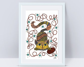 Kitty Cat Art Print - Jennifer Reid