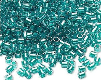 Delica Seed Beads #8 Teal Green Color-Lined