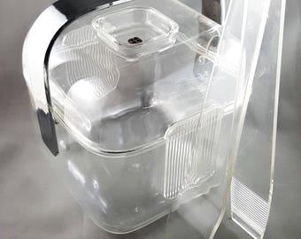 Super Chic Mid Century Vintage Mod Guzzini Amanda Acrylic Lucite Ice Bucket with Tongs