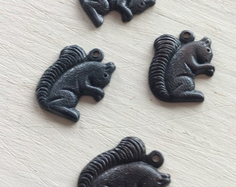 SQUIRELL charms 4 PC blackened brass