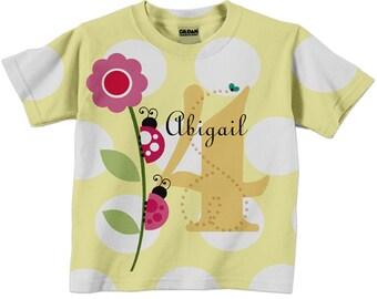 Girls Ladybug Shirt, Personalized Number Lady Bug Birthday T-shirt, Childrens Clothing