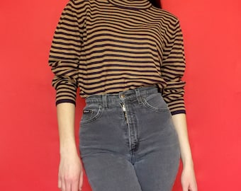 Vintage 90s Black and Brown Striped Long Sleeve Mock Turtle Neck Pull Over Sweater