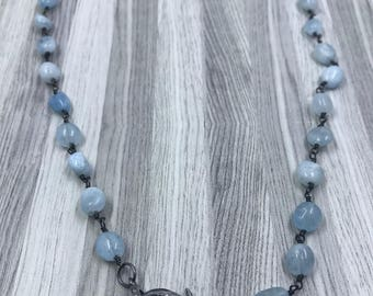 Aqua Chalcedony Beaded Chain with Pave Diamond Lobster Claw Clasp