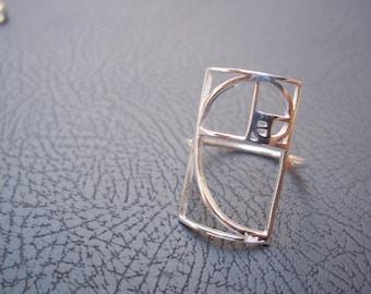 Pure Silver Golden Ratio Fibonacci Ring