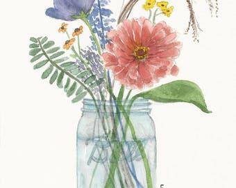 Ball Jar Flowers - Watercolor Print - Art Print - Watercolor Flowers - Summer Flowers