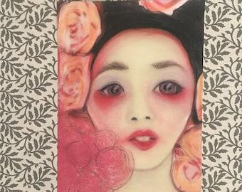 Pin Pop Surreal Asian Floral Women Portrait