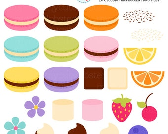 Macarons Clipart Set - Build Your Own - french macarons, cookies, pastry, macaroons - personal use, small commercial use, instant download