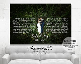 Wedding Gift Wedding Vows Paper Anniversary Gift - First Dance Lyrics Anniversary Gift for Parents - Gift for husband - Housewarming Gift