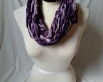 Purple Sashay Yarn Arm Knitted Infinity Scarf