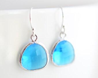 Simple earrings, Capri Blue earrings, Silver earrings,Everyday earrings,Christmas Gift,Glass earrings,Clip earrings,Valentines gift