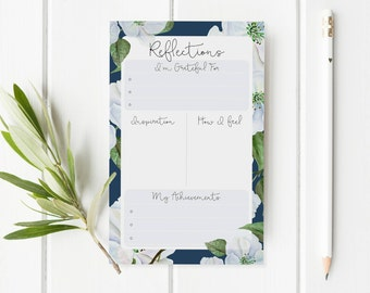 Gratitude Journal - Daily Reflections Notepad - Mindfulness Journal - Gratitude List Notepad - Floral Gratitude Notepad - Travellers Notepad