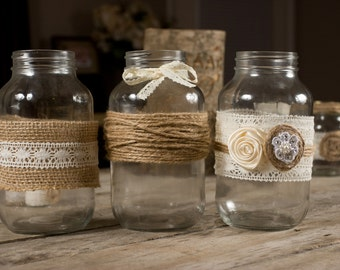 Country Rustic Wedding Mason Jar Wraps Set of 3 with Burlap and Lace