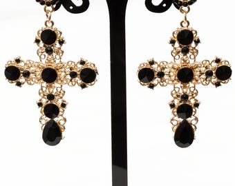Dolce Earrings Baroque Earrings Cross Earrings Dolce Cross Earrings Gold cross earrings Rhinestone Cross Jewelry Long Cross Earrings
