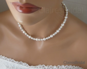Bridal Pearl Necklace Wedding Jewelry Swarovski Pearl and Rhinestone Necklace