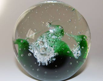 Glass Green Wave And Bubble Paperweight
