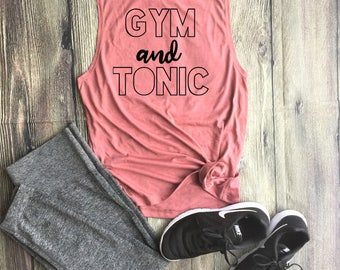 Gym and Tonic Workout Top // Athletic Tank Top, Triblend Tank Top, Gym top, Work Out Tank