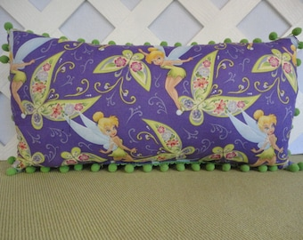 Tinkerbell Pillow in Purple and Lime Green / Fairy Pillow / Character Pillow / Girls Pillow / Girls Room Decor / Accent Pillow