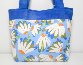 Blue Tote Bag, Coneflower Medium Purse, Tote with Pockets, Medium Blue Purse