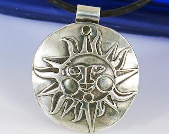 Southwest Sun Face Compass Pendant Necklace - Southwest Tucson Fine Silver Sun Compass Necklace -Southwest Sun Face Pendant Fine Silver Gift