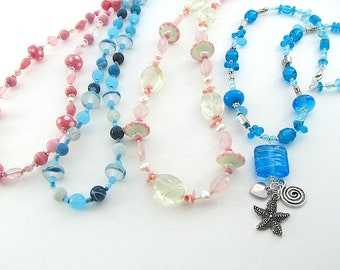 Fiver Friday Necklace Offer, Pink or Blue, Handmade Lampwork Glass Bead Jewellery