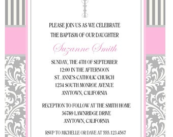 BEAUTIFUL BAPTISM INVITATION for Girl / Personalized Gray and Pink Damask Invitation for Baptism / Elegant Baptismal Invitation for Girls