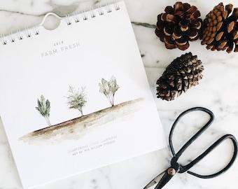 Farm Fresh: 2018 Minimalistic Hanging Wall Calendar - Mini Spiral Bound Calendar - Minimalistic Calendar - Farmhouse - 2018 -Christmas gift