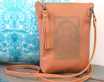 Ishra Tan Leather Dance Bag, Hip Bag, Crossbody Bag