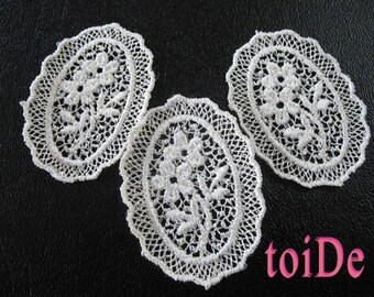 3 - Vintage Oval Floral Lace Applique Embroidered Victorian Applique