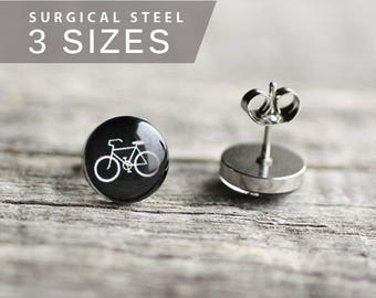 Bicycle post earrings, Surgical steel studs, Tiny black earring studs, Sport stud earrings, mens earrings, earrings for men, gift for him