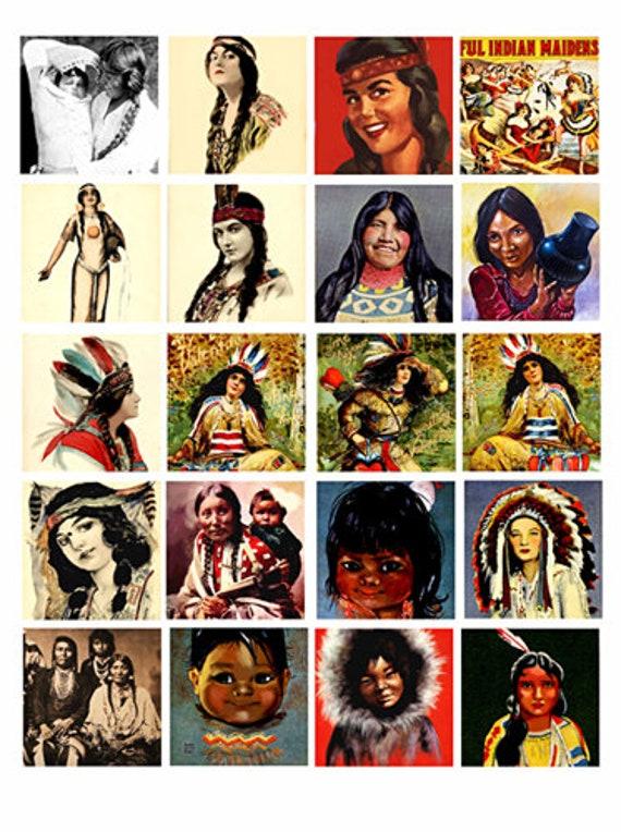 vintage native american indian women children art collage sheet digital download 1.75 inch squares graphics images printables pendants pins
