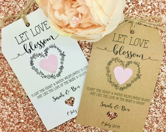 Plantable Seed Paper, Wedding Favour Gift, Wildflower Seeds, Let Love Grow